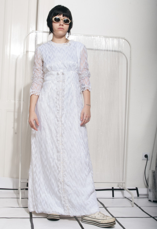 80s Wedding Dress.Lace Wedding Dress 80s Vintage Boho Bridal Dress