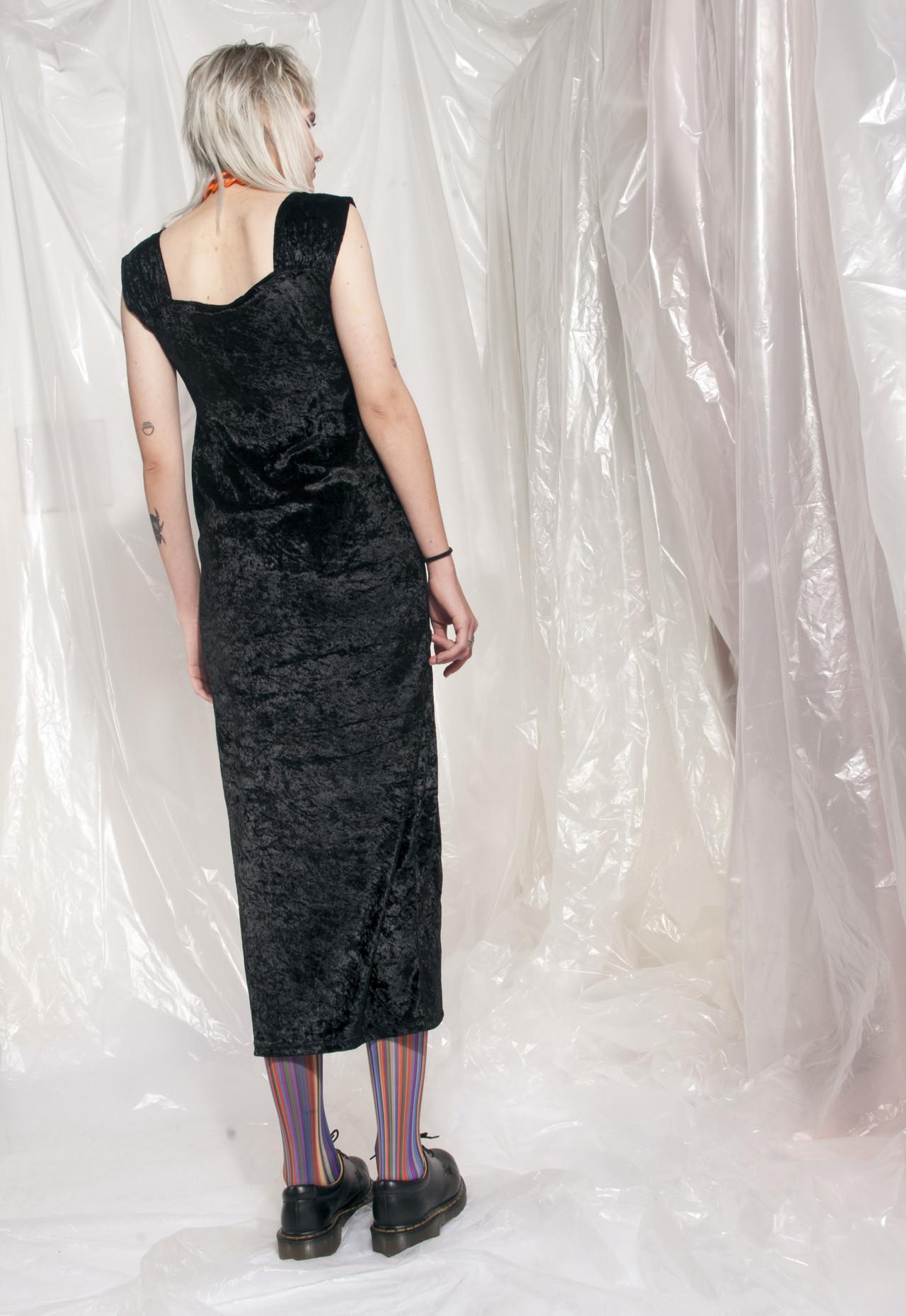 Vintage Crushed Velvet Dress 90s Black Grunge Maxi Dress Pop Sick Vintage