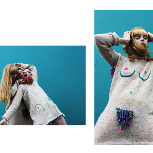 Reworked knit jumper with boobs and body hair