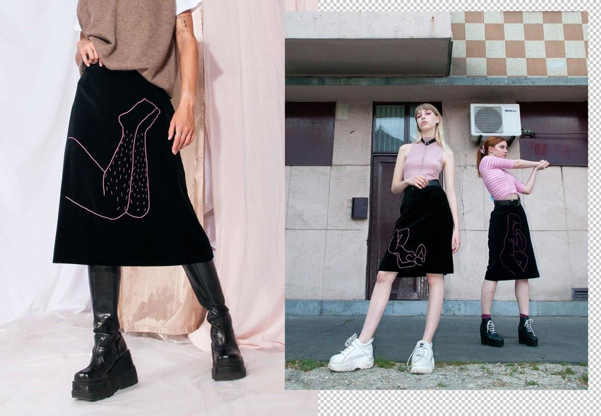 Feminist embroidery on vintage skirts