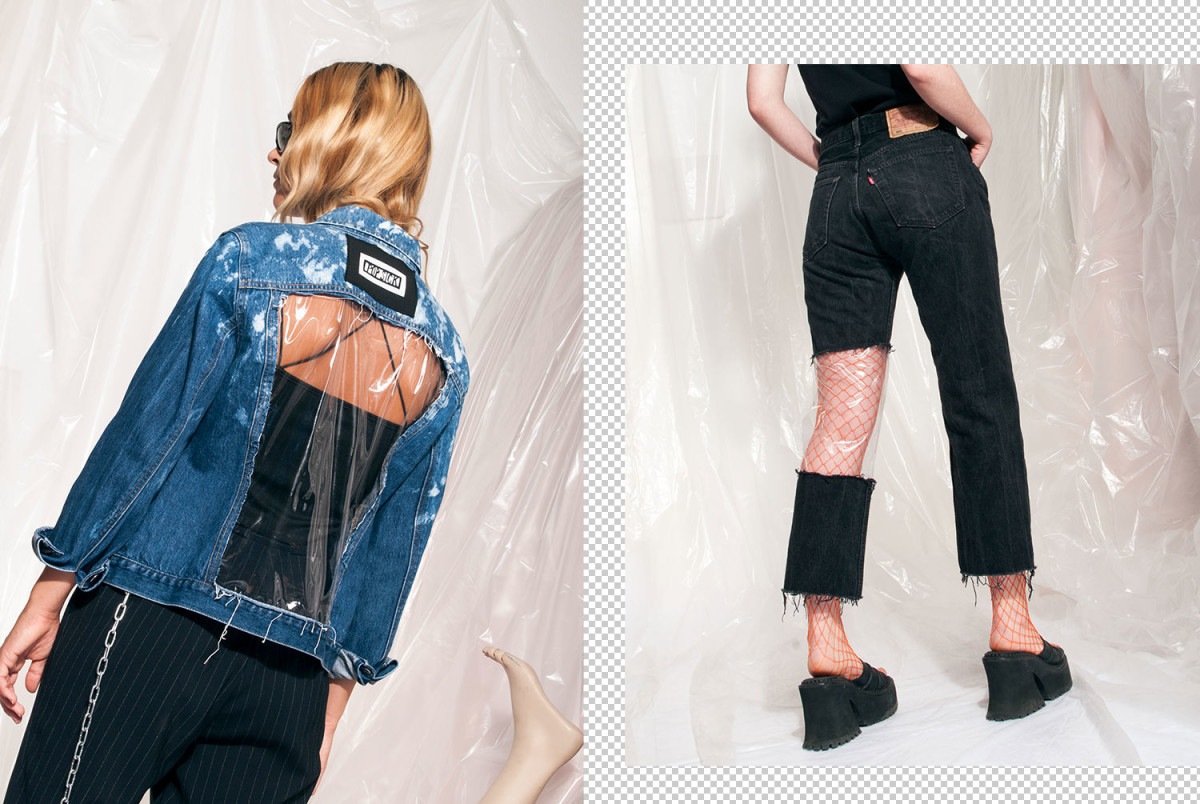 Reworked jeans and denim jacket with see-through PVC panel