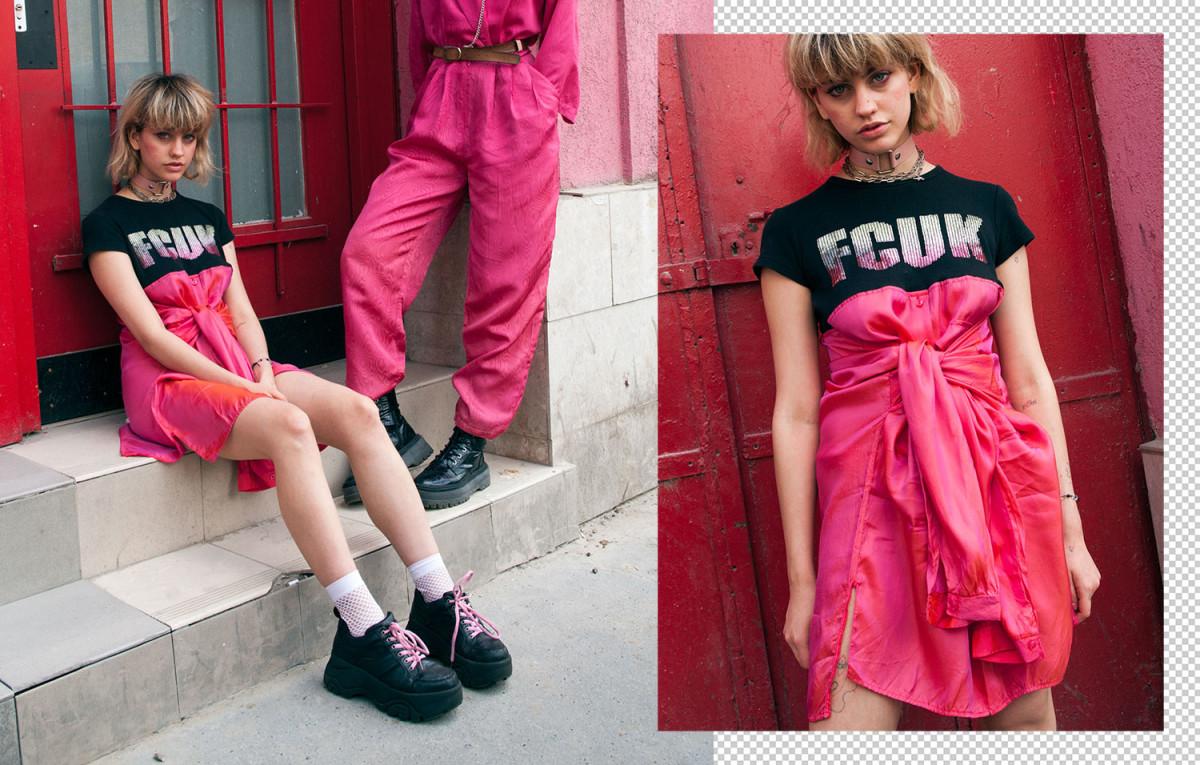 Model wearing upcycled vintage shirt dress