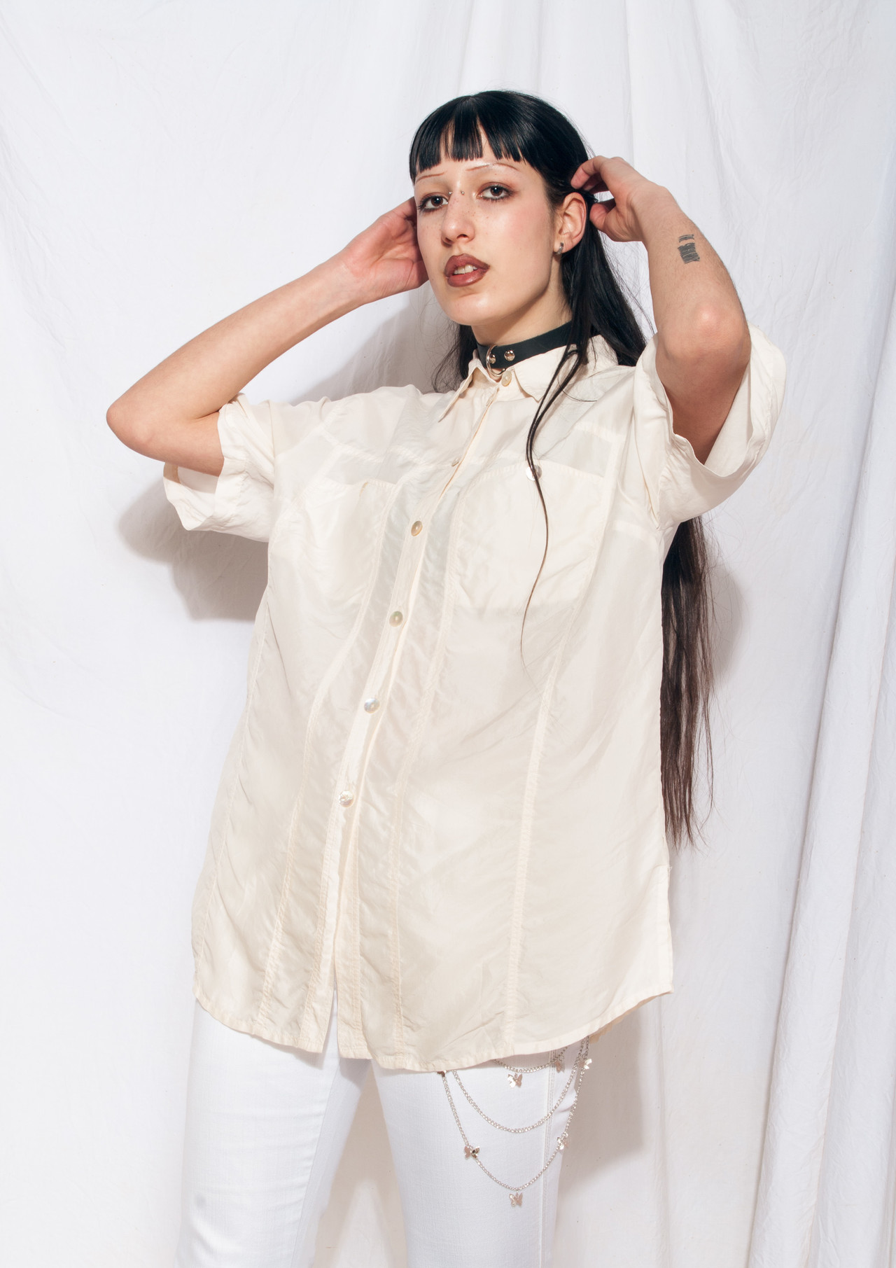 90/'s satin shell blouse
